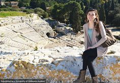 Sophomore, Kim Chmura visits the ancient ruins Syracuse, Sicily. #UDAbroad