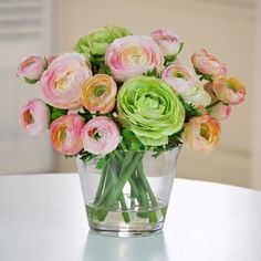 Features:  -Permanent botanical.  -Faux floral.  -Realistic.  -Home decor.  Product Type: -Floral Arrangements.  Color: -Green/Pink.  Size: -Small.  Flower: -Ranunculus.  Seasonal Theme: -Yes.  Season