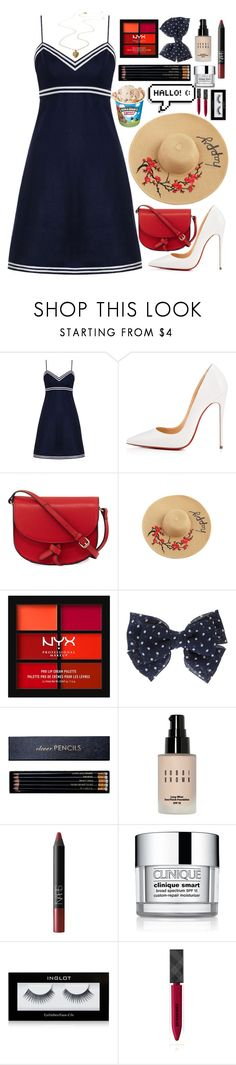 """""""Beach Day"""" by stxr-crxssxd ❤ liked on Polyvore featuring Zimmermann, Christian Louboutin, KC Jagger, NYX, Sloane Stationery, Bobbi Brown Cosmetics, NARS Cosmetics, Clinique, Inglot and Burberry"""