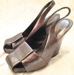 YSL Yves Saint Laurent Rive Gauche size 35 pewter wedge slingback sandals