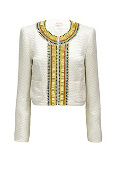 THE RESULTS ARE IN - waist length jacket with patch pockets & hand beaded rows of multicoloured glass beads, gold baguettes & aged crystal stones detail on lapel & collar.