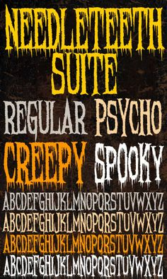 Free original horror and Halloween fonts created by Chad Savage and released by Sinister Visions Spooky Font, Scary Font, Halloween Fonts, Halloween Invitations, Diy Halloween, Gangster Fonts, Coraline Cat, Witch Font, Font Creator