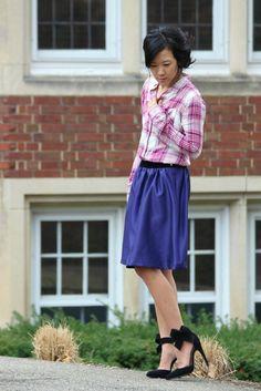 Holmdene Manor - deep purple satin skirt, raspberry plaid blouse, black bow heels #FallFashion #WinterFashion #PlaidBlouse #PurpleSkirt