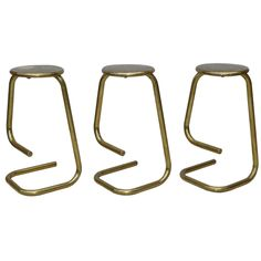 3 70s Kinetics Brass Bar Stools | From a unique collection of antique and modern stools at https://www.1stdibs.com/furniture/seating/stools/