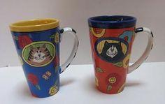 SET OF 2 CATZILLA HANDPAINTED  TALL COFFEE MUGS CANDACE REITER Кружки и чашки