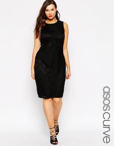 Image 1 of ASOS CURVE Lace and Airtex Mixed Body-Conscious Midi Dress