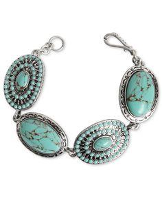 Lucky Brand Bracelet, Silver-Tone Turquoise Stone Flex Bracelet