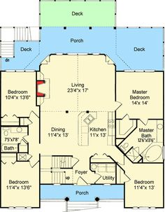 Low Country Or Beach Home Plan   60053RC | Beach, Low Country, Vacation,. Beach  House Floor ...