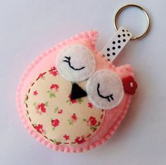Cute felt owl key chain