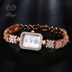 e2bb7ef7898 Xinge Luxury Women Rose Gold Watches Zircon Crystal Bracelet Watch Business  Quartz Wristwatches Ladies Dress Fashion Wrist Watch