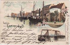 Litho AK GREIFSWALD 1902 Hebebrücke bei Wiek, Hafenansicht, Ruine Eldenz ( 74779