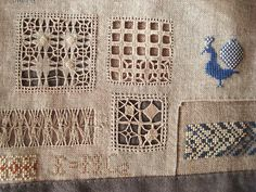 ~ via At Swim-Two-Birds on flickr - samplers, embroideries on linen and silk