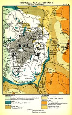 The 12 best maps of ancient israel images on pinterest cards geological map of jerusalem after dr blanckenhorn facing p gumiabroncs Image collections