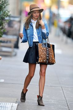 In love with this: short skirt and denim jacket + booties, tote and hat