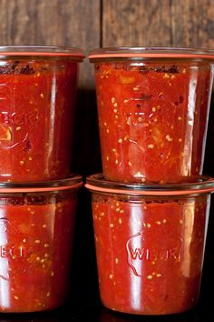Fire roasted tomatoes in Weck jars...beautiful food