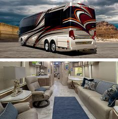 A Prevost Bus conversion is the ultimate luxury motorhome. Marathon is the leader in luxury bus conversions, service and technology. Interior Motorhome, Bus Motorhome, Motorhome Living, Prevost Coach, Prevost Bus, Rv Vehicle, Luxury Mobile Homes, Marathon Coach, Suv Tent