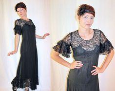 Vintage 1930s Black EVENING GOWN Handmade Silk & Lace Asymmetrical Flutter RARE Cocktail Dress ~ $289.00