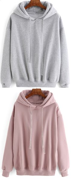 Hooded Drawstring Sweatshirt for women at ROMWE .This loose sweatshirt has grey pink colors .Truely nice choice for a layer outfit in the fall winter.