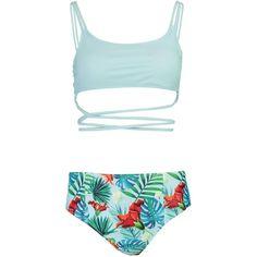 Boohoo Tall Rylea Tropical Wrap Around High Waist Bikini | Boohoo (62.540 COP) ❤ liked on Polyvore featuring swimwear, bikinis, beach bikini, triangle bikinis, two piece bikini, beach kimono and two piece swimwear
