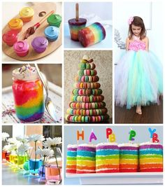 Love the rainbow cake in mason jars, and the colored water with daisies!