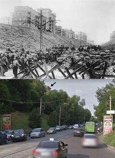 . First Battle of Kharkov. German troops file past a barricade and anti-tank obstacles on the Descent of Passionaria [Klochkivskyj Descent], October 1941, then & now