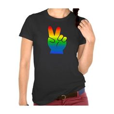 Gay Pride Peace dark t-shirt (£23) ❤ liked on Polyvore featuring tops, t-shirts, peace t shirt and peace sign t shirt