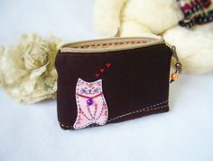 Cat purse small zipper bag small pouch gift bag coin by DooDesign, $12.00
