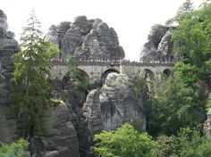Bridge at Bastei built for tourists over 200 years ago. Located in Hohnstein