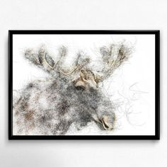 Moose Prints, wilderness printable, moose deer head, moose illustration, moose decor, deer decor, contemporary decal, animal illustration