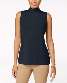 Chic on its own or as a sophisticated base layer, Charter Club's petite sleeveless top features a flattering mock turtleneck. Petite mock-neck top by Charter Club now on sale. Afflink.