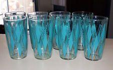 Vintage 1950s Hazel Altas Glass Tumblers Teal Diamonds (Set of 8)