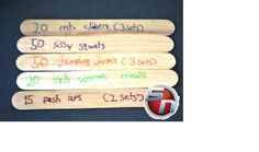 Fun Fitness craft for Kids. Personal Training Sticks. Have your kids come up with different exercises and a certain amount of reps. Place Sticks in a cup, draw sticks from the cup and do the exercise. Come up with 10 exercises.