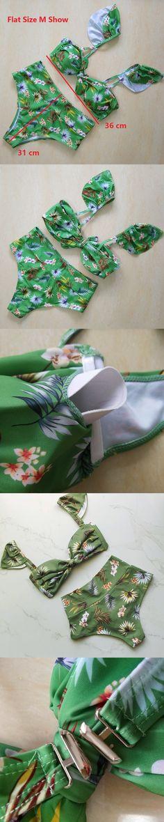 Bkning New Flower Print Bikini Push Up Swimwear Female High Waist Bathing Suits Flounce Strappy Biquini Green Swim Wear Bikiny