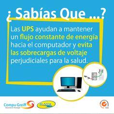 #SabíasQue Las UPS ayudan a mantener un flujo constante de energía hacia el computador y evita las sobrecargas de voltaje perjudiciales para la salud.