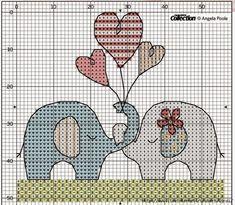 Hobby lavori femminili - ricamo - uncinetto - maglia: Schema Coppia di Elefanti con tre cuori a punto croce