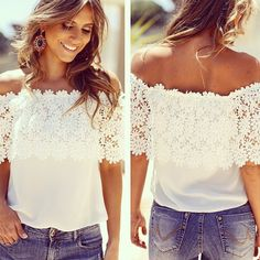 Blusas Summer Style Womens Chiffon Blouse Sexy Women Lace Patchwork Casual Off Shoulder Shirts Slash Neck Tops Plus Size Chiffon Shirt, Chiffon Tops, White Chiffon, White Lace, Lace Chiffon, Cotton Lace, Black White, Diy Lace Shirt, Lace Shirts