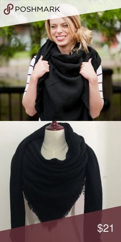 SALE Solid Black Blanket Scarf **NEW** Solid Black Blanket Scarf. 55x55 inch acrylic scarf. (This item is not from Zara, I used the brand for visibility). Zara Accessories Scarves & Wraps