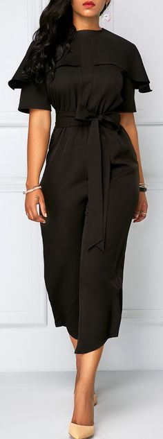 Round Neck Short Sleeve Belted Jumpsuit.