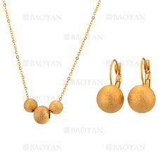 juego collar y aretes de bola dorado acero inoxidable -SSNEG543331