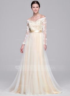 A-Line/Princess Off-the-Shoulder Sweep Train Tulle Wedding Dress With Beading Appliques Lace Sequins Bow(s) (002071529)