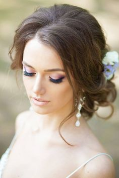 romantic bridal updo with soft smokey purple eye ~  we ❤ this! moncheribridals.com