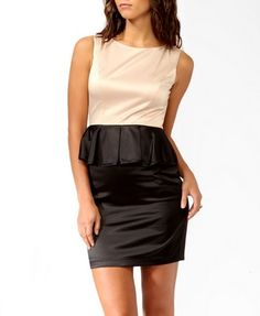 This is a perfect cocktail dress! Colorblocked Peplum Sheath Dress