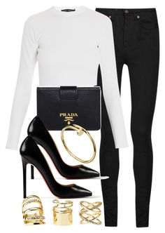 """""""Style #6997"""" by vany-alvarado ❤ liked on Polyvore featuring Yves Saint Laurent, Prada, Christian Louboutin, Proenza Schouler and Charlotte Russe"""