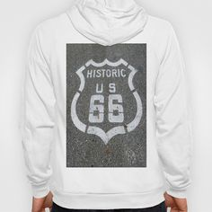 Route 66 sign on the road Hoody by Claude Gariepy - $42.00