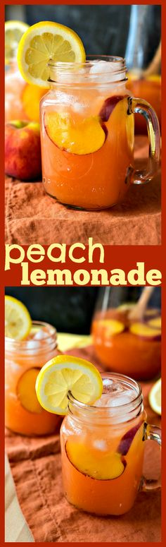 Peach Lemonade – Homemade lemonade is taken to a new level with the addition of fresh peaches. It will be your new favorite summer drink! #recipe #drinks #peaches #lemonade #summer #homemade #drinkrecipes