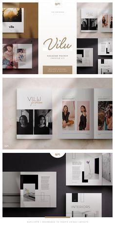Vilu - Magazine / Brochure Mockup Creator Kit --- When you need a beautiful mockup to enhance your beautiful layouts, 'Vilu' is here to provide portfolio worthy Design Blog, Layout Design, Free Design, Design Ideas, Design Inspiration, Design Typography, Logo Design, Graphic Design, Branding