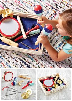 Our Band in a Box contains plenty of musical instruments for the whole family, making sharing easy (relatively speaking, of course). Includes triangle, tambourine, rhythm sticks, cymbals, clapper and maracas to soothe your savage beasts. Wooden storage box included to make cleanup a breeze.