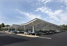 Solar Parking Canopies: Parking Lot Solar Power & Weather Protection. Water collection also possible #solar panels #big solar
