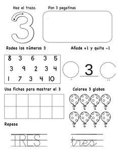 numeros-hasta-el-10-3-638 Kindergarten Math Activities, Math Literacy, Preschool Education, Preschool Worksheets, Fun Math, Activities For Kids, Numbers Preschool, Math Numbers, Learning Spanish