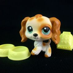 Littlest Pet Shop 344 Cocker Spaniel Dog LPS Figure HASBRO 2005 Beige Spotted